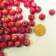 120 Wood 10MM Round Spacer Craft Beads Handpainted Red FREE GLASS SEED BEADS
