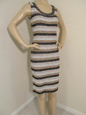 NEW ST JOHN KNIT 8 WOMENS DRESS BLACK BISCUIT CREAM STRIPE TWEED SHIMMER WOOL