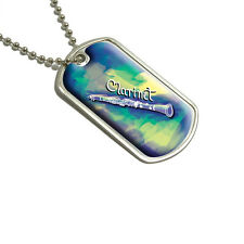Clarinet - Musical Instrument Music Woodwinds Cool Color - Blue Green - Dog Tag