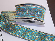 1m 33mm blue Gold jacquard embroidered ribbon lace applique motif trimming decor
