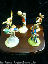 "Royal Doulton ""The Bunnykins Games Collection"" w/ Wood Stand *Limited Edition*"