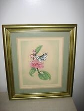 Beautiful green gold framed oil water color art 'Dear Mettie' by Edith Snyder