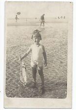 BP027 Carte Photo vintage card RPPC Enfant jouet bateau plage beach boat