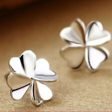 Cute Lucky Clover Earrings 925 Sterling Silver Ear Stud Women's Wedding Jewelry