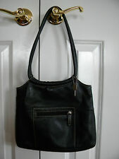 Women's Fossil Black Leather 75082 Handbag with White Stitching Round Handles