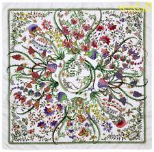 """GUCCI white Green and Purple GG logo Floral FANNI silk 35"""" Scarf NWT Authentic!"""