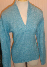 Ladies Croft & Barrow Long Sleeve V-Neck Pagoda Blue Sweater Top Petite Size PL