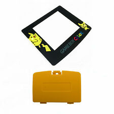 New DANDELION YELLOW Game Boy Color Battery Cover + Pokemon Pikachu Screen GBC