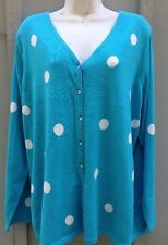QUACKER FACTORY TURQUOISE W/WHITE POLKA DOT CARDIGAN SWEATER SIZE 1X NWOT