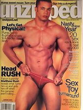 UNZIPPED MAGAZINE FOR MEN, January 2003, Matthew Rush:Cover/Gay Interest