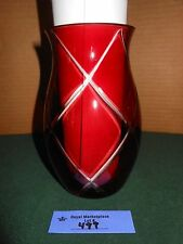 Vintage Bohemian Ruby Red Cut to Clear Glass VASE