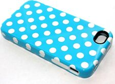 iPHONE 4 4G 4S - HARD & SOFT RUBBER DUAL HYBRID ARMOR CASE BABY BLUE POLKA DOTS