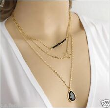 New Hollow Five-Pointed Star Black Bead Water Drop Gem Multilayer Necklace.