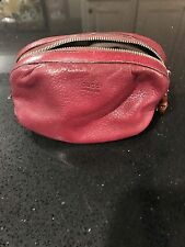 Gucci red leather accessories/cosmetics bag with bamboo detailing