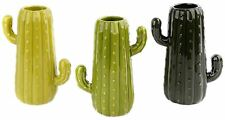 Ceramic Cactus Vase Novelty Flower Plant Pen Pot ~ Colour Vary