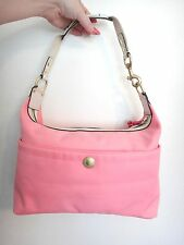 Pink Nylon Coach Purse Shoulder Bag Tote Gold Accents White Canvas Leather