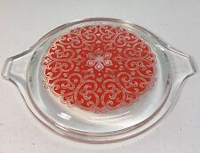 Vintage Pyrex Promotional Glass Lid 470-C Red Celtic Floral (Fits 473 Red Dish)