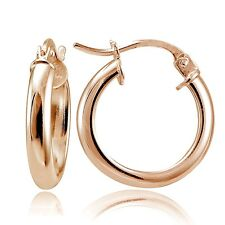 """Rose Gold Tone over Sterling Silver High Polished .6"""" Small Hoop Earrings"""