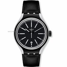 Swatch Men's YES4003 Irony Analog Display Swiss Quartz Aluminum Black Watch