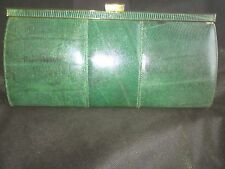 Vintage genuine lizard green leather made in UK excellent condition clutch bag