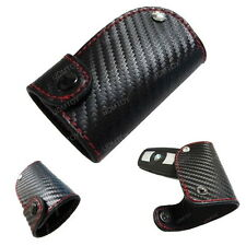 Carbon Fiber Pattern Leather Key Fob Holder Case For Smart Key Keyless Remote