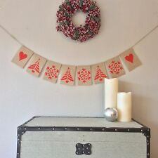 Christmas Bunting Banner Snow Flake Christmas Tree Hessian Burlap
