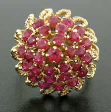 14k Yellow Gold 2.8ctw Round Ruby Twisted Wire Tiered Dome Pyramid Cocktail Ring