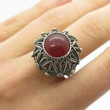 Antq Europe Vtg 925 Sterling Silver Real Carnelian Gemstone Handmade Ring Size 8