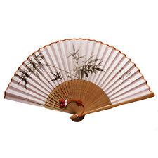 Eventail chinois et asiatique en soie, motif bambou