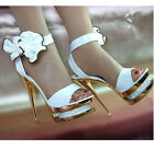 Double Platform Bows Princess Wedding shoes Crytal Super High Heels