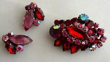 D&E Juliana Brooch And Clip Earrings In Clear Pink, Siam Red And Aurora Borealis