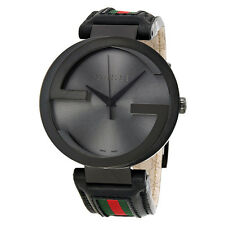 Gucci Interlocking G Black Dial Black Leather Mens Watch YA133206