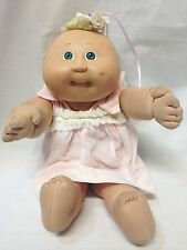 Vtg 1985 Coleco Cabbage Patch Preemie Baby Doll Green Eyes Dimple Tuft w/Dress