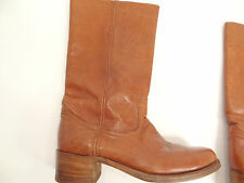 Vtg FRYE U.S.A. Caramel-Brown Leather Campus/Ranch/Motorcycle Boots-2955-Sz 11