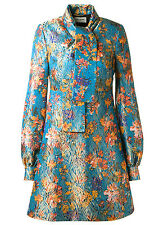 Saint Laurent YSL Tie Collar Mini Dress in Turquoise Tropical Print Brocade 36