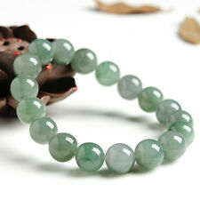 Natural Grade A Oil-Green Jade (jadeite) 10mm Round Bead Bracelet Good Luck