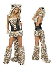 New Sexy Women Lady Leopard Outfit Fur Costumes Cosplay Party Fancy Hoodie Dress