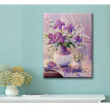 DIY 5D Vase Flowers Purple Diamond Embroidery Painting Cross Stitch Wall Decor