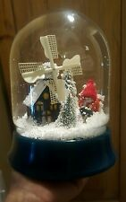 """Vintage Snowdome Snow Globe CHRISTMAS decoration Cute Building with windmill 9"""""""
