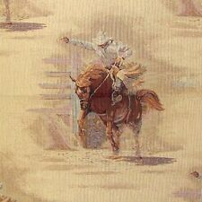 BRONCO RIDER RODEO WESTERN RIDER UPHOLSTERY FABRIC PILLOWS THROWS CHAIR CUSHIONS