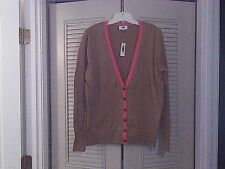 Old Navy Classic V-Neck Camel Brown Candy Pink Trim Tortoise Button Cardigan XL