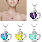 Newly Design Heart Crystal Rhinestone Sterling Silver Chain Pendant Necklace Pop