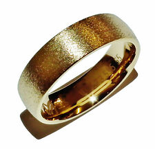 Stamped 925 Sterling Silver & GOLD PLATED 6mm Wedding Band Ring - UK: L 1/2