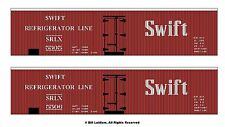 2 different red SWIFT boxcars HO scale printed reefer sides, different numbers