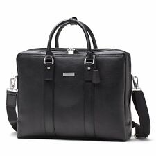 Brooks Brothers Luxury Briefcase Leather Laptop Bag Black Silver Brand New