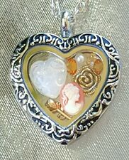 ♡ VINTAGE HEART GLASS FLOATING CHARM LOCKET NECKLACE ~ CHRISTMAS GIFT ♡ CAMEO ♡