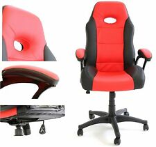 Charles Jacobs Luxury Executive Office Desk GAMING CHAIR in Black&Red PU LEATHER