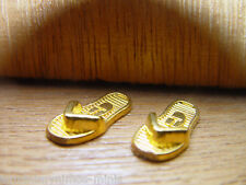 DOLL HOUSE 12th SCALE PAIR OF REAL 'GOLD PLATED' SANDALS !! BUY THEM NOW !! WOW