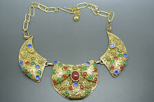 Vintage byzantine style filigree green red cabochon pendant necklace