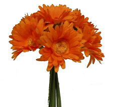 ORANGE ~ Gerbera Gerber Daisy Daisies Bridal Bouquet Silk Wedding Flowers Decor